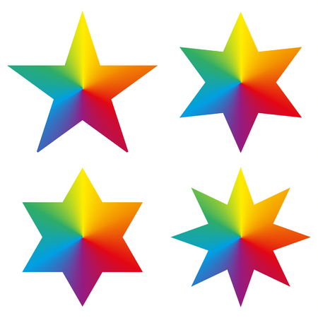 rainbow circle: Set of 4 isolated stars with rainbow circle gradient