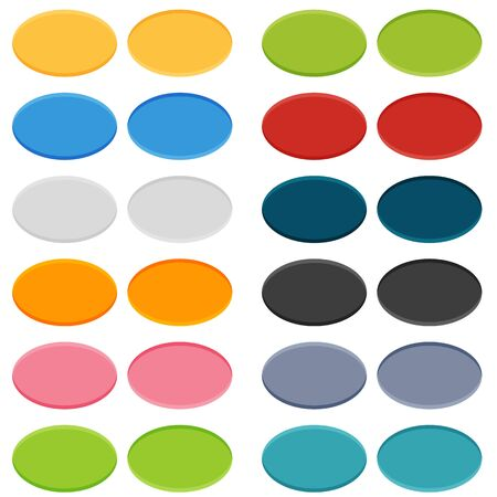 Big set of 16 oval buttons in 2 positions - normal and on click (pushed) Illustration