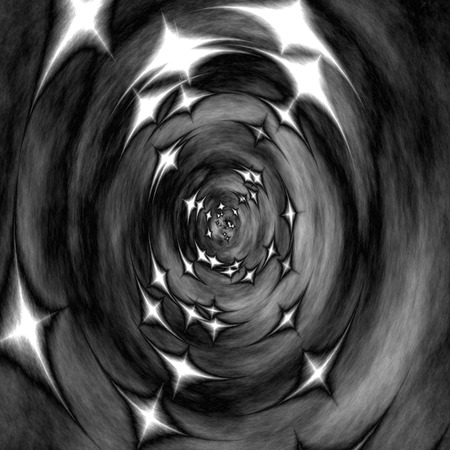 wormhole: Greyscale illustration of scary 3d tunnel with stars (to the other side), wormhole, etc. Stock Photo