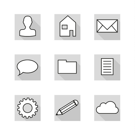 greyscale: Set of 9 flat icons in neutral colors of greyscale