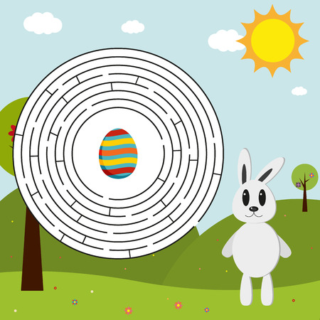 find a solution: Easter maze with bunny trying to find his Easter egg - in EPS with solution
