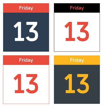 13th: Set of 4 isolated calendar sheets with dat Friday 13th