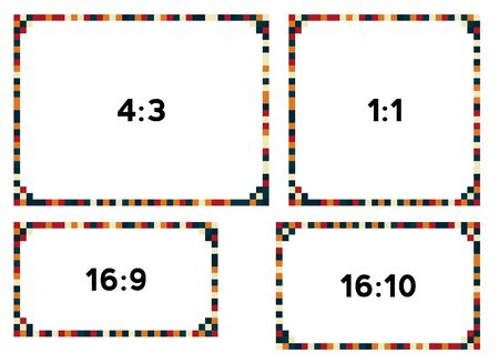 resolutions: 4 colorful pixel frames in darker tone for different resolutions