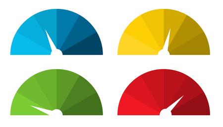 色の濃淡で 4 孤立したカラフルな加速のセット