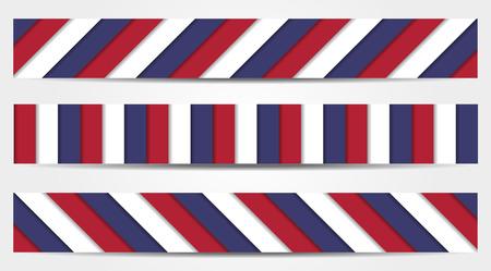 Set von 3 gestreiften Banner in blau, weiß und rot - Nationalfarben der USA, Frankreich, Russland, Groß Kingdome, Tschechien usw. Standard-Bild - 36978673