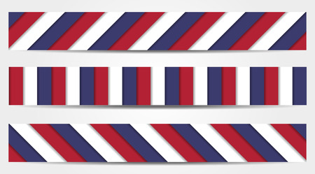 Set of 3 striped banners in blue, white and red - national colors of USA, France, Russian, United Kingdome, Czech Republic, etc. Illustration