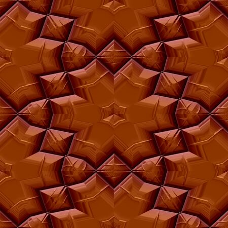 toltec: Seamless pattern of flower shapes in chocolate color Stock Photo
