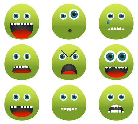 Set of 9 unusual emoticons - green blobs with different emotions (in different mood) Illustration