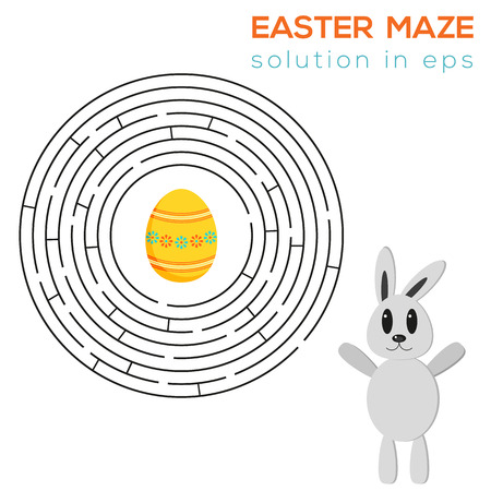 Isolated Easter maze - bunny wants Easter egg (with solution in eps)