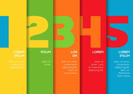 Background with 5 colorful vertical stripes with numbers and enough copyspace not only for your infographic Illustration