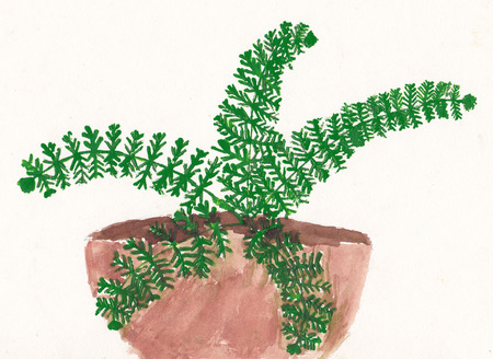7 year old girl: Original child painting of fern in flowerpot - scanned picture o 7 year old girl