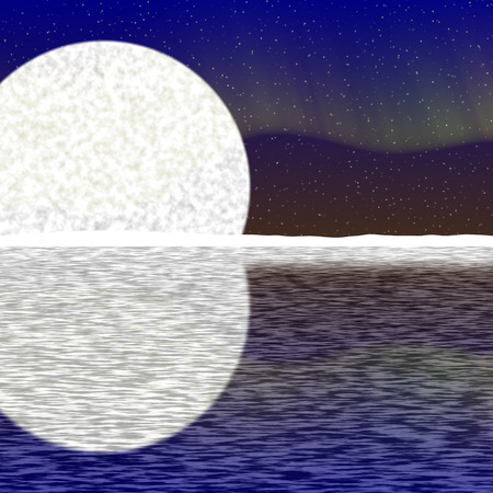 Illustration of big moon, aurora on nigh sky and snowy horizon with reflection on water