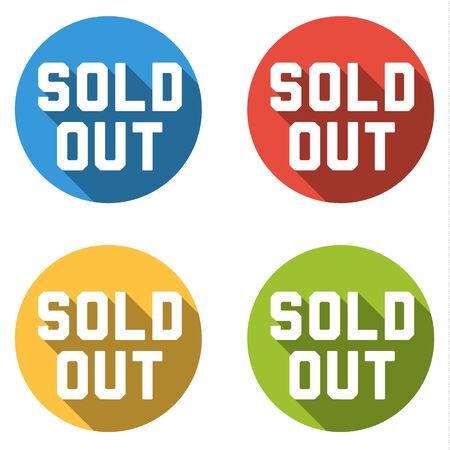sold isolated: Set of 4 isolated flat colorful buttons for - sold out - with long shadow