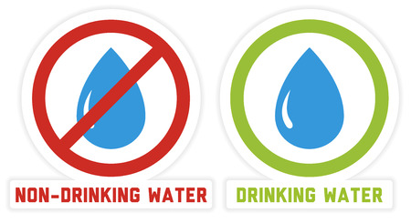 2 isolated stickers for drinking and non-drinking water