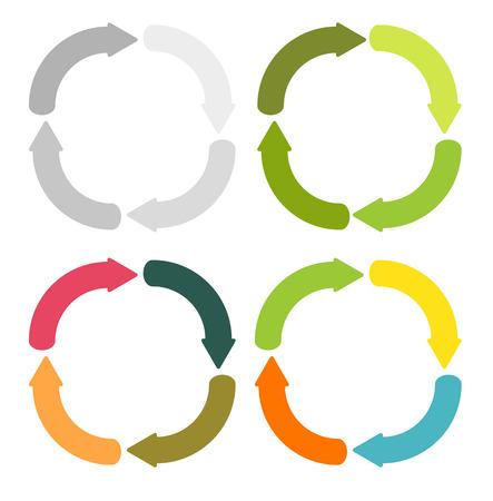4 種類のカラー バリエーションで円形矢印の 4 分離セット