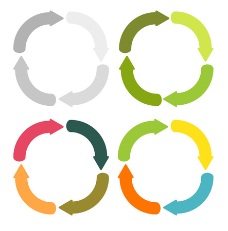 4 isolated sets of 4 arrows in circular shape in different color variations Vector