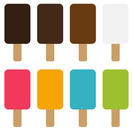 ice lolly: Set of 8 simple isolated ice lolly in different colors