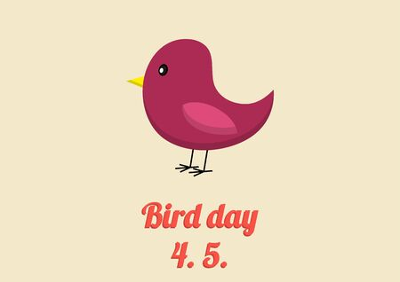 spur: Bird day card in vintage colors and flat style Illustration