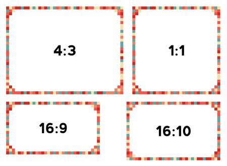 resolutions: 4 colorful pixel frames in nice colors for different resolutions Illustration