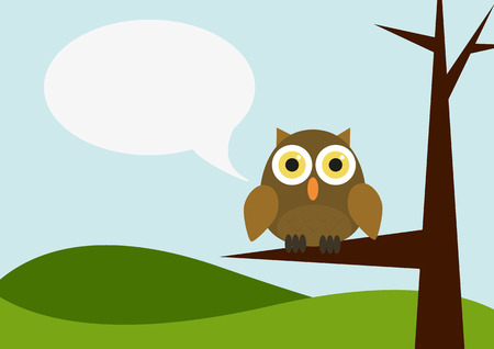 Illustration of landscape with owl siting on a tree with speech bubble Vector