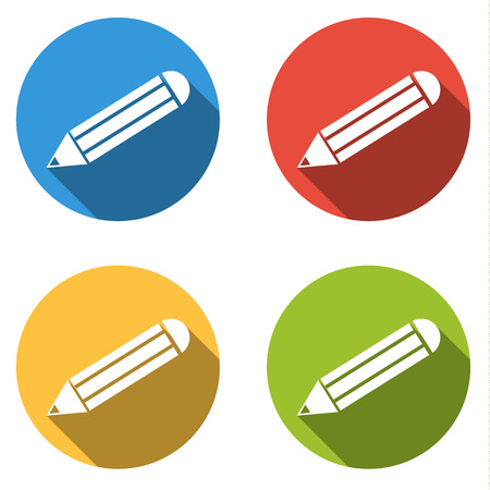 write us: Set of 4 isolated flat colorful buttons for pencil  write us with long shadow Illustration