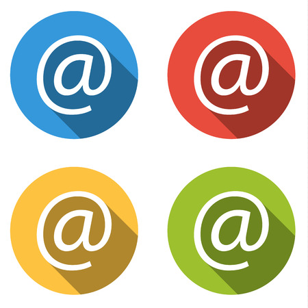web mail: Set of 4 isolated flat colorful buttons for @ (at, at-sign) with long shadow