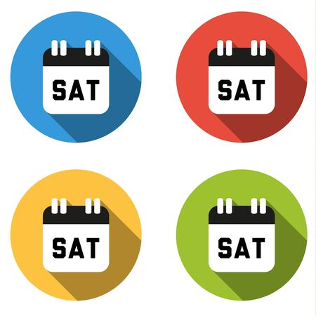 long weekend: Set of 4 isolated flat colorful buttons for Saturday (calendar icon)