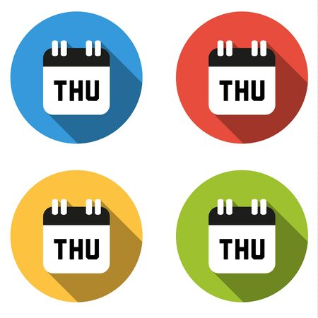 thursday: Set of 4 isolated flat colorful buttons for Thursday (calendar icon) Illustration