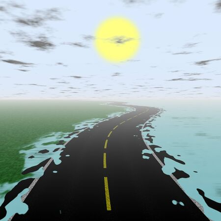 escape route: Illustration of flooded road during sunset with mist on the horizon Stock Photo