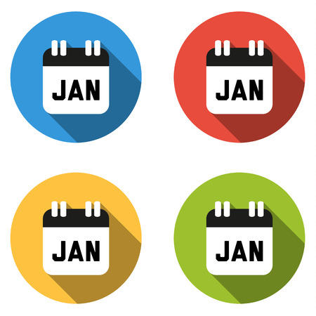 january 1st: Set of 4 isolated flat colorful buttons for January (calendar icon) Illustration