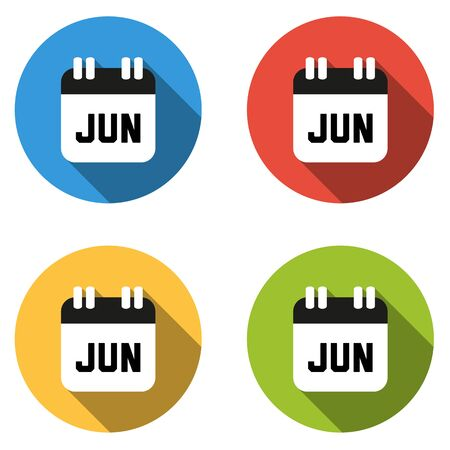 june: Set of 4 isolated flat colorful buttons for June (calendar icon) Illustration