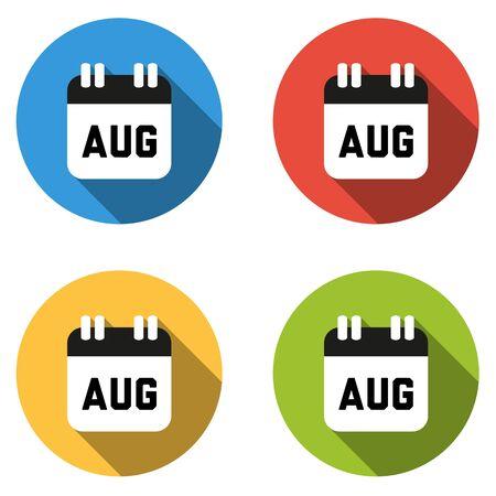 august calendar: Conjunto de 4 botones de colores planos aislados de agosto (icono de calendario)