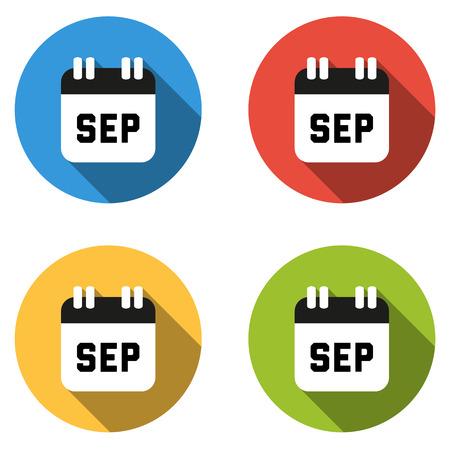 calendario septiembre: Conjunto de 4 botones de colores planos aislados de septiembre (icono de calendario)