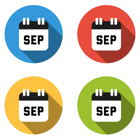 september calendar: Set of 4 isolated flat colorful buttons for September (calendar icon) Illustration