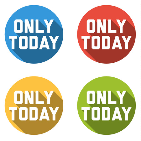 clean off: Set of 4 isolated flat colorful buttons for - only today - with long shadow Illustration