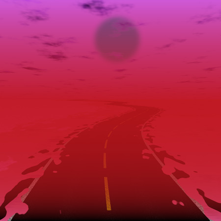 scifi: Fantasy illustration of road on red planet (sci-fi planet with radiation)