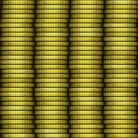 coin stack: Seamless pattern illustration of yellow coin stack Stock Photo
