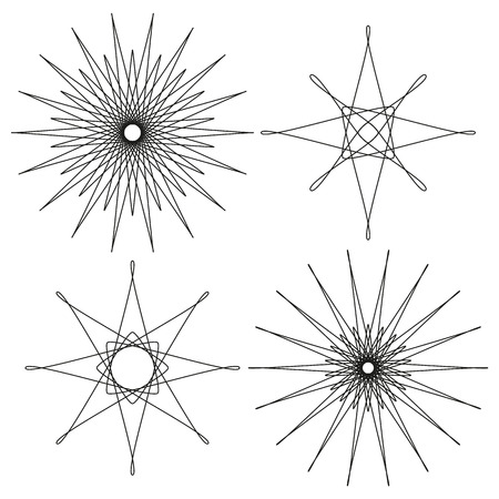 eg: 4 isolated black abstract design elements for e.g. stars or suns Illustration