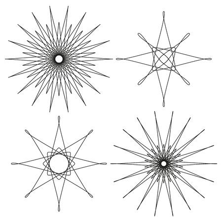 eg: 4 isolated black abstract design elements for e.g. stars or suns Illustration