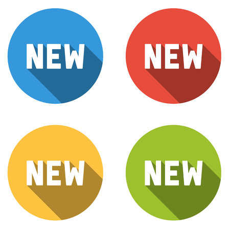 Set of 4 isolated flat colorful buttons (icons) with NEW text