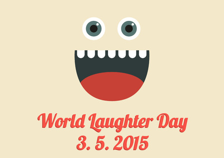 laughter: World Laughter Day card in vintage colors and flat style