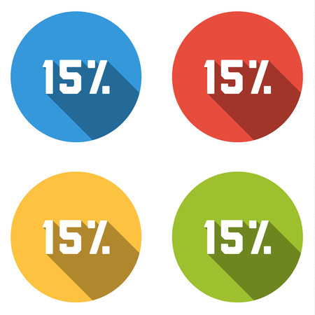 Set of 4 isolated flat colorful buttons (icons) for 15% (discount) Vector