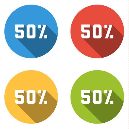 50% (割引) の 4 分離フラット カラフルなボタン (アイコン) のセット  イラスト・ベクター素材