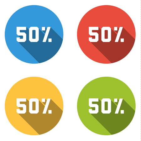 Set of 4 isolated flat colorful buttons (icons) for 50% (discount)
