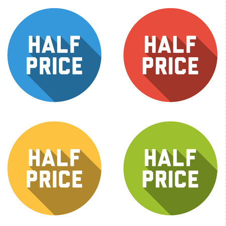 half price: Set of 4 isolated flat colorful buttons (icons) with HALF PRICE text Illustration