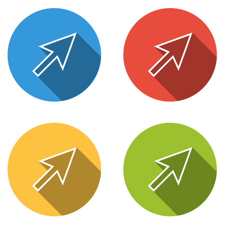 cursor arrow: Set of 4 isolated flat colorful buttons (icons) for outlined cursor (arrow)