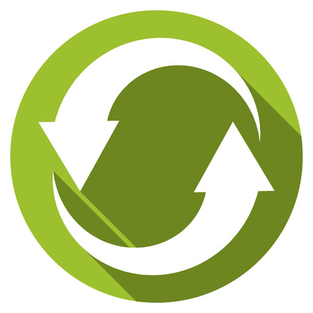 Isolated flat button (icon) for recycle in green color with long shadow