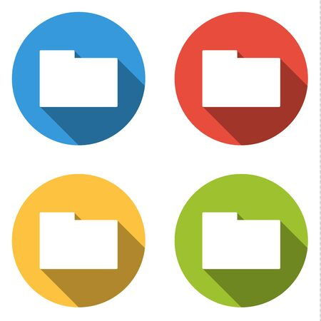 directory: Set of 4 isolated flat colorful buttons (icons) for folder (directory) Illustration