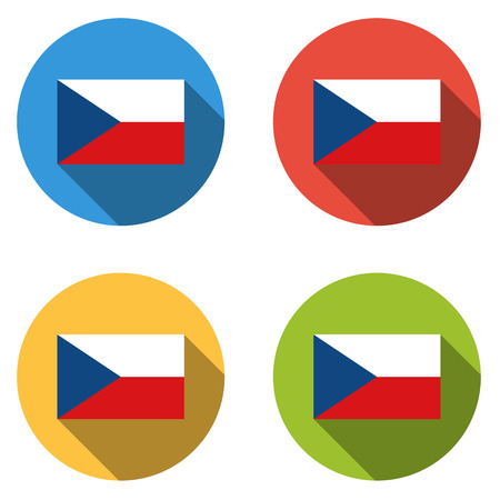 cz: Set of 4 isolated flat colorful buttons (icons) with flag of CZECH REPUBLIC