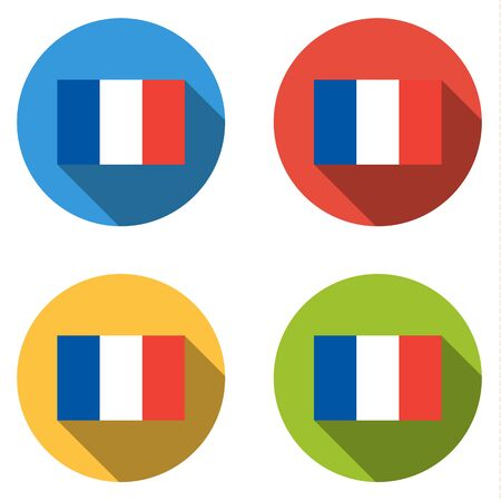 francaise: Set of 4 isolated flat colorful buttons (icons) with flag of FRANCE Illustration